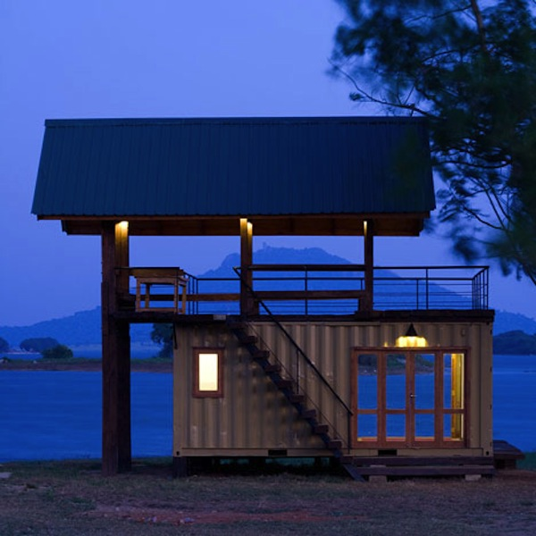 shipping container turned lake cabin by damith photo by logan macdougall pope 6   Top 10 Shipping Container Tiny Houses
