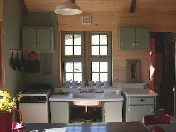 Small Rustic Cabin - Kitchen Area - Reclaimed Materials from Old Motel