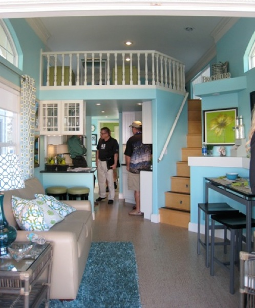 Interior Colors For Small Homes: 387 Sq. Ft Tiny Cottage: Staircase Storage And Spacious Loft