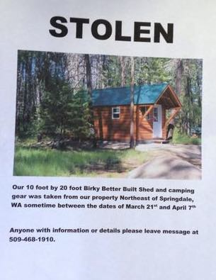 Stolen Tiny House in Loon Lake WA Recovered
