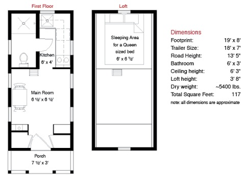 Tumbleweed Tarleton Tiny House Floor Plan