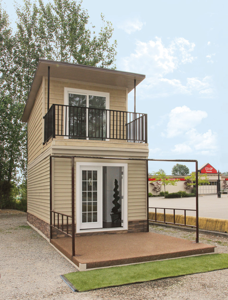 The eagle 1 a 350 sq ft 2 story steel framed micro home for Small two story house plans with garage