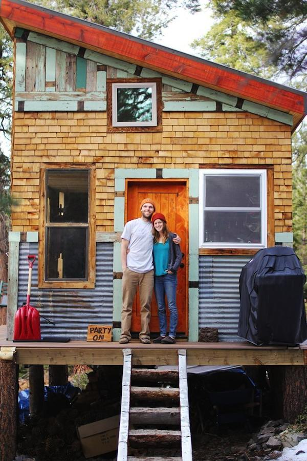 Young couple build mortgage free off grid micro cabin for Diy cabins and cottages