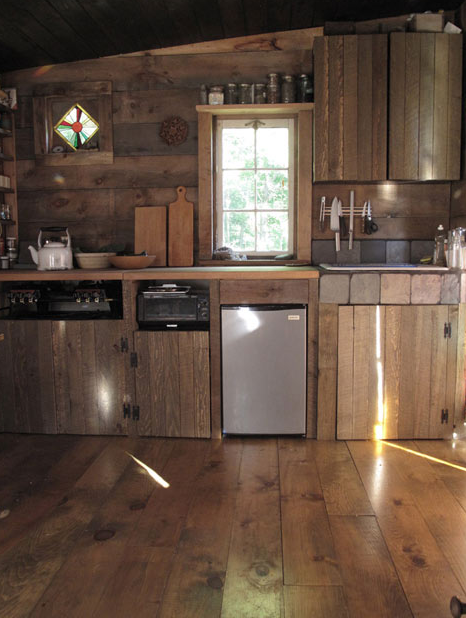 little kitchen in tiny cabin