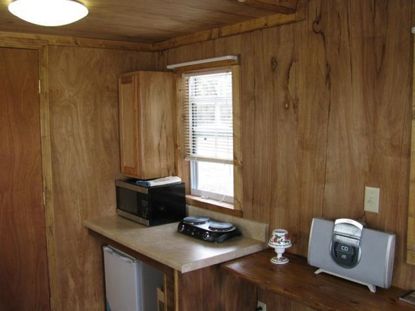 Kitchenette in Tiny Cabin on Wheels