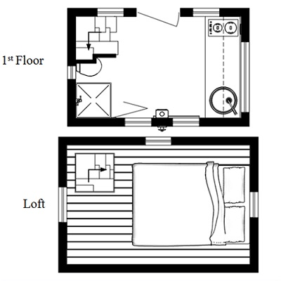 nook tiny house floor plan from humble homes - Micro House Plans