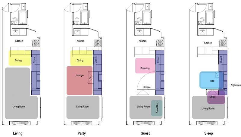 Tiny Transforming Apartment Floor Plans