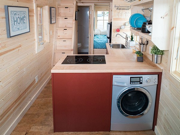 Tumbleweed cypress tiny house on wheels for Tiny house washer dryer