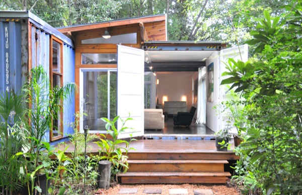 two shipping containers turned into a small house. Black Bedroom Furniture Sets. Home Design Ideas