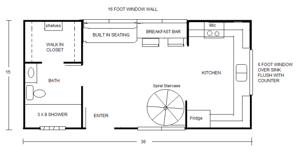 Small house floor plan sketches by robert olson for Micro loft floor plans