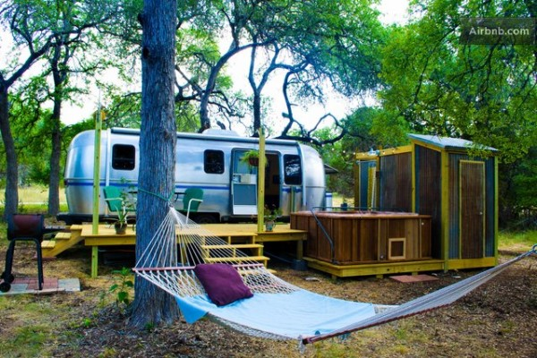vintage airstream tiny house with deck conversion 007 600x400   Airstream Tiny House with Deck, Hot Tub, Fire Pit and Outdoor Shower