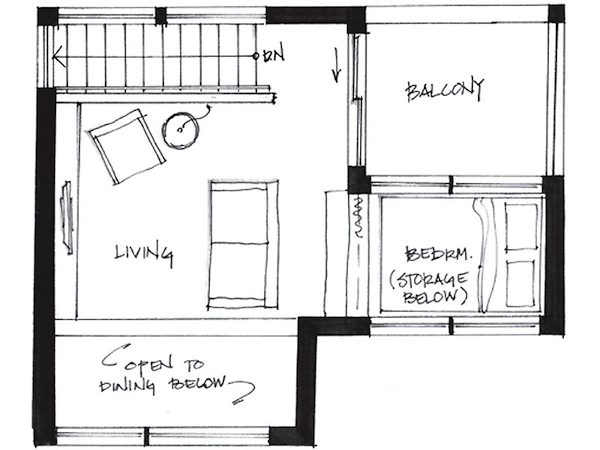 westcoast500 1 upper upstairs small house floor plan   Couple Living in 500 Square Foot Small House By Smallworks Studios