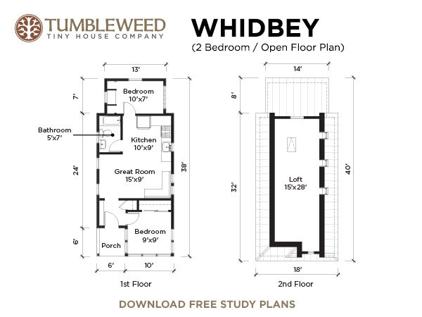 Luxury Tumbleweed Whidbey Tiny Cottage Floor Plan