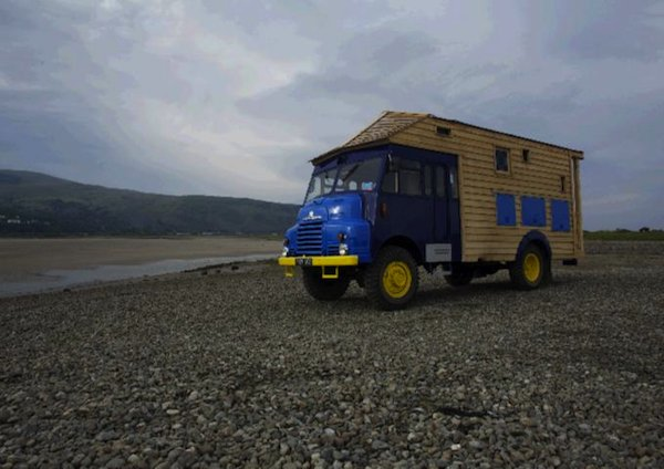 wooden house truck 1954 army firetruck 02   Tiny House Built on a 1954 Goddess Firetruck: Self Sufficient Wooden House Truck