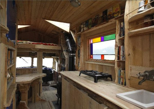 Wooden House-truck from 1954 Army Firetruck: Interior Kitchen Area