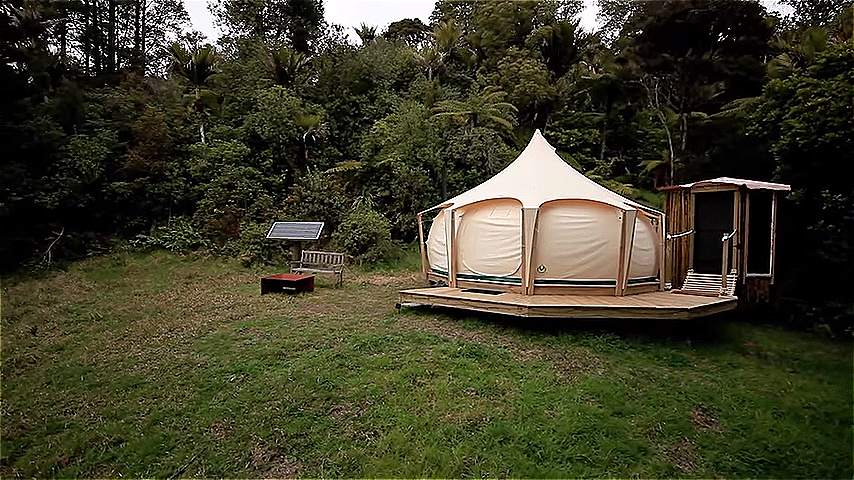 Man escapes rent with belle tent while building tiny home Tent a house