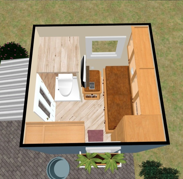 Floor Plan Aerial View of Tiny House