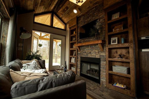 Living Area in a Tiny Cabin Community