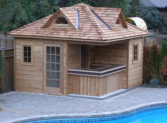 Pool cabanas as tiny houses for Pool plans for sale