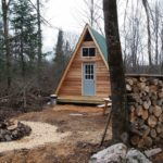 14×14 A-frame tiny cabin built using plans from Simple Solar Homesteading 001