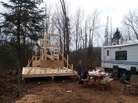 14×14 A-frame tiny cabin built using plans from Simple Solar Homesteading
