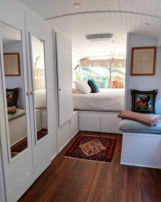 1966 Greyhound Bus Converted into Tiny House Vacation in Yucca Valley