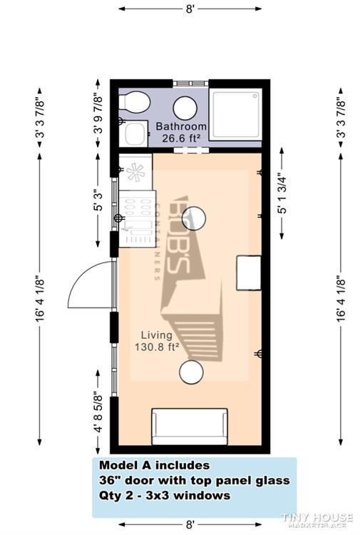 "20′ Container Home | ""The Abilene"" Model 2"