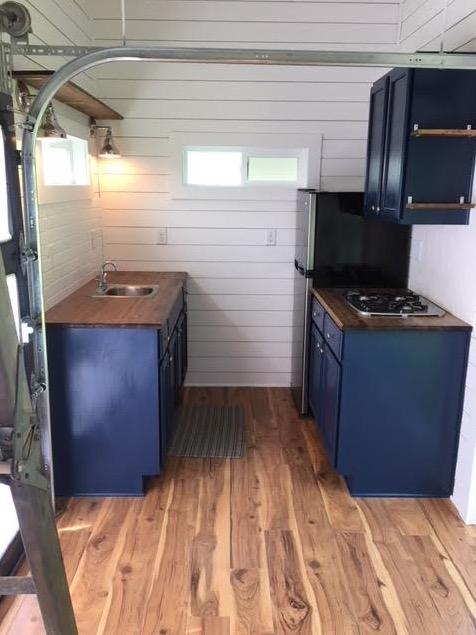 288 sq ft Tiny House with Garage Doors and Fold Down Porch 0029