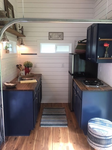 288 sq ft Tiny House with Garage Doors and Fold Down Porch 007