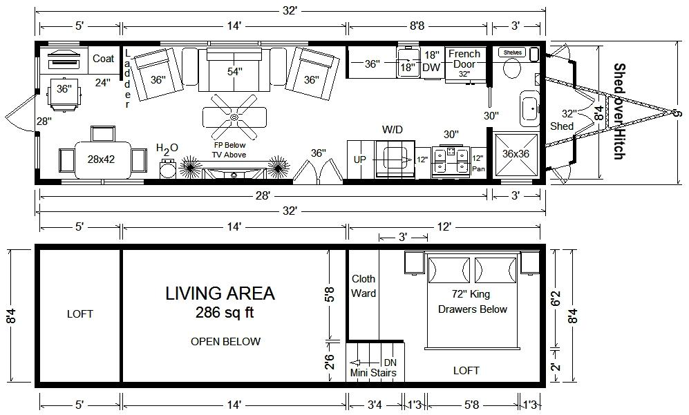 Tiny house floor plans 32 39 tiny home on wheels design for Little house blueprints