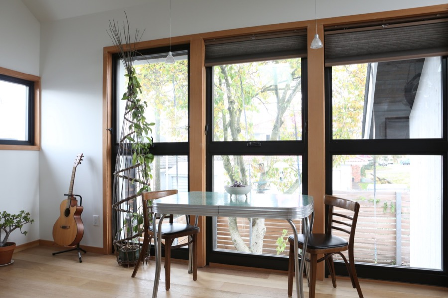large windows to allow natural light in doors
