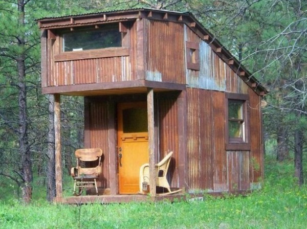 Charles Finn's Tiny Cabin he built using Reclaimed Materials!
