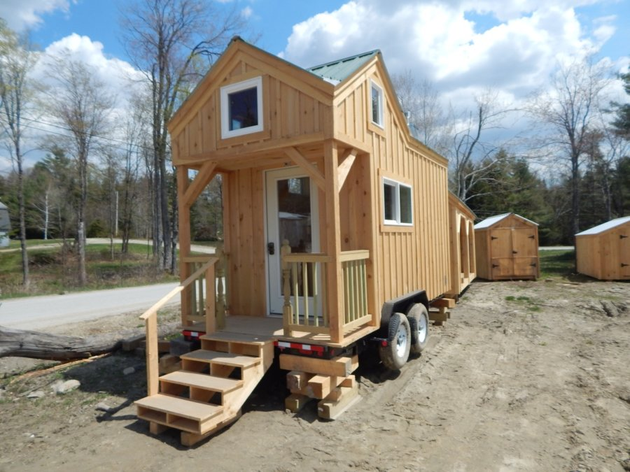 8×16 cross gable tiny house on a trailer evergreen roof