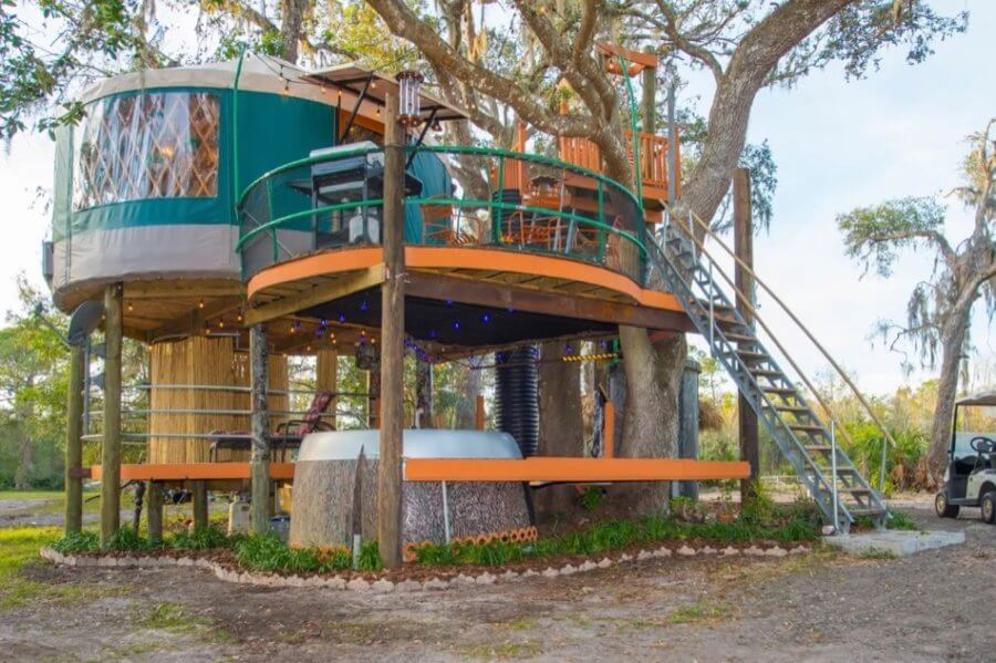 Amazing Treehouse Yurt Vacation Experience in Florida via Dan And Deborah Airbnb 001