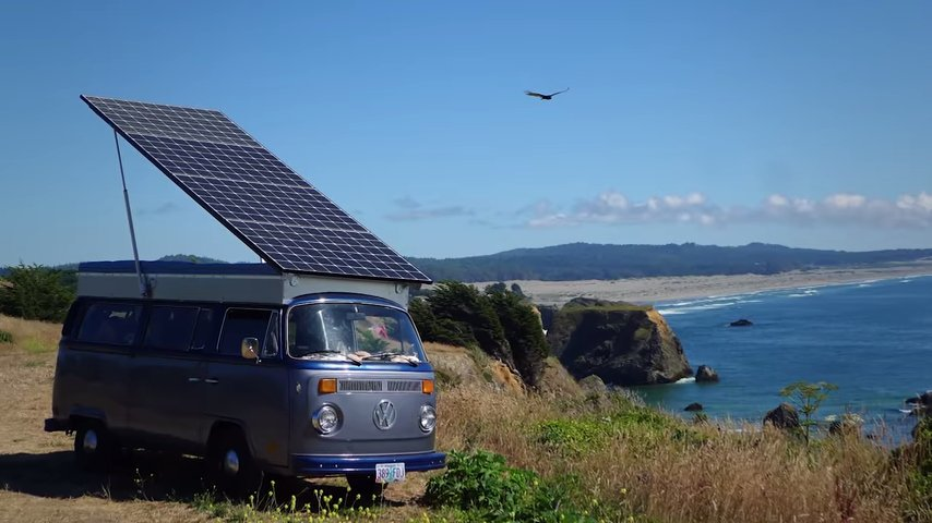 He Turned an Old VW Bus into a Solar-Powered, Self-Charging EV!