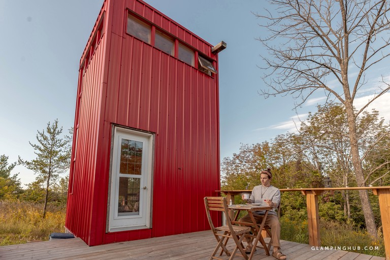 Bright Red Tall and Modern Tiny House near Belleville Ontario via Glamping Hub 002