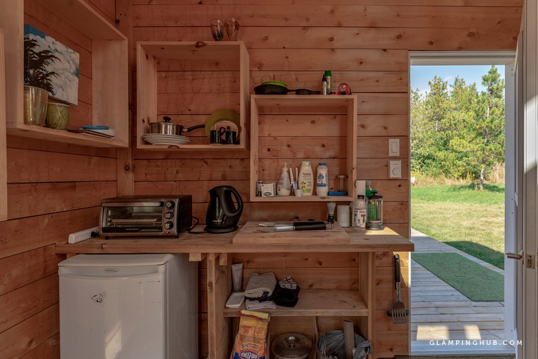Bright Red Tall and Modern Tiny House near Belleville Ontario via Glamping Hub 007