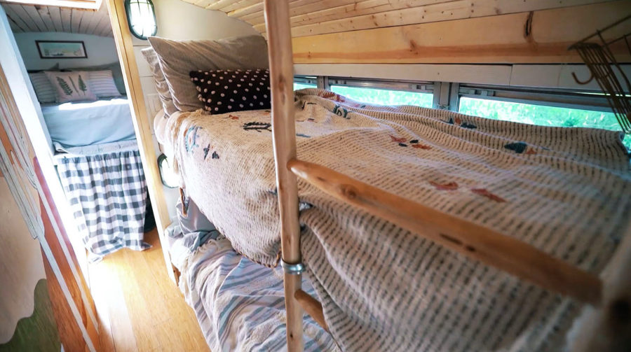 Bunk Beds in this Familys School Bus Cottage