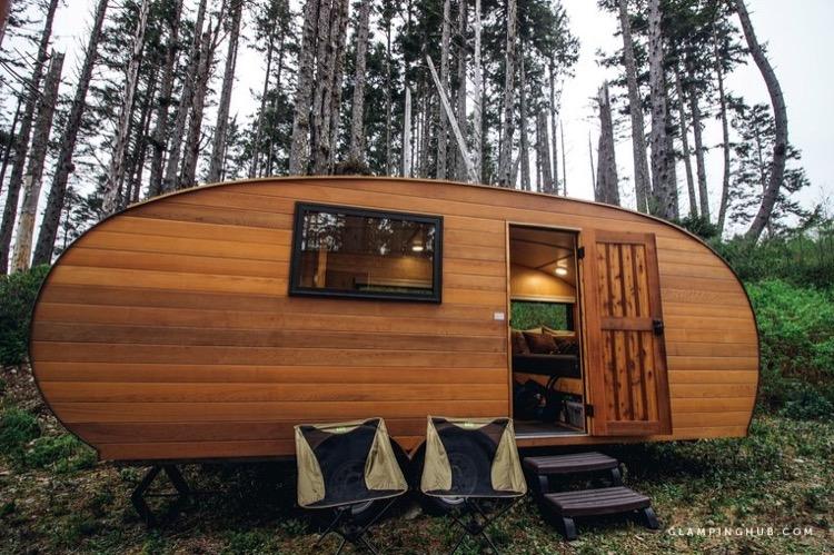 Caravan Trailer Bunk Cabin Getaway in The Woods via Glamping Hub 001