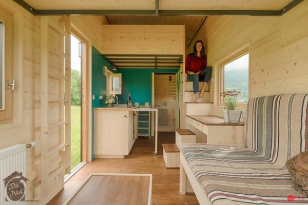 Cecile Tiny House with Convertible Roof by Opti Nid 0011