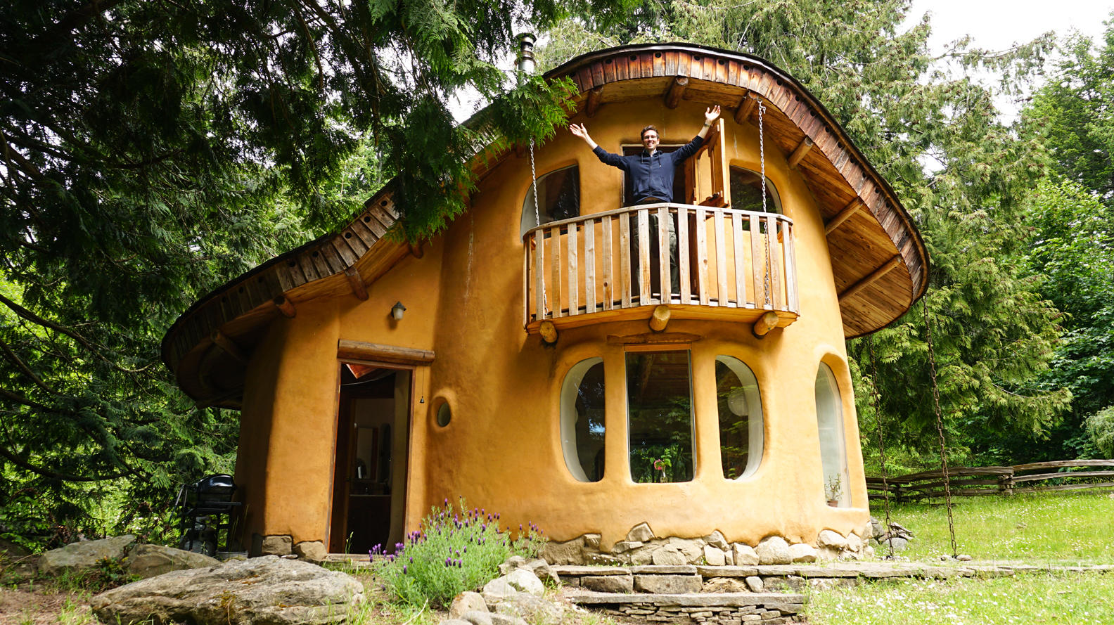 Incredible cob house tour 2 story cob cottage originally for Building a 2 story house