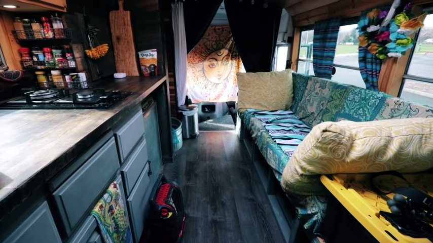 Couples Mini School Bus Conversion via Tiny Home Tours YouTube 003