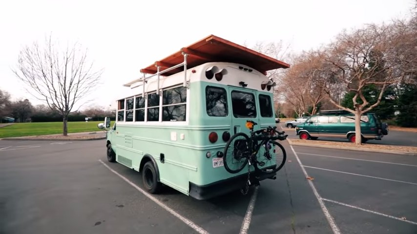 Couples Mini School Bus Conversion via Tiny Home Tours YouTube 004