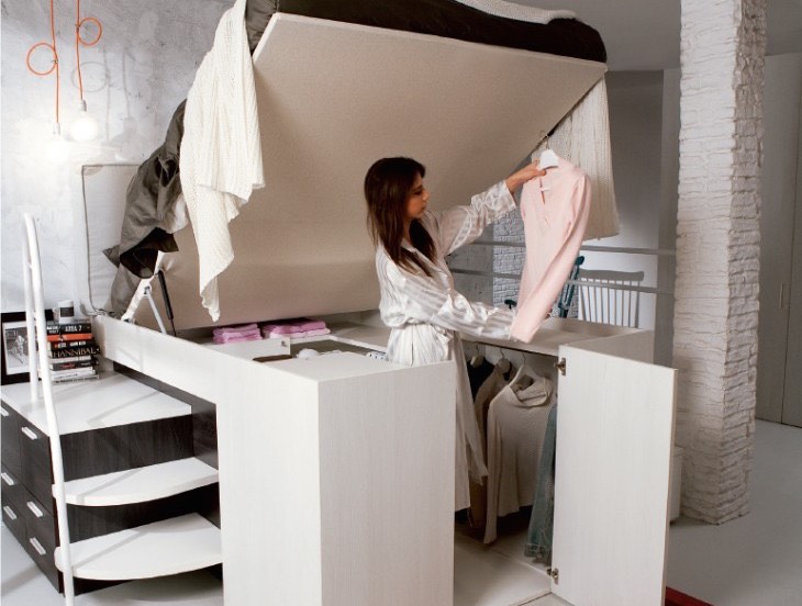 Space Efficient Bedroom Furniture: Genius Space-Saving Bed Design Gives You Walk-in Closet