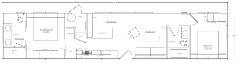 Escape Mobile Home 2br 2ba Floor Plan