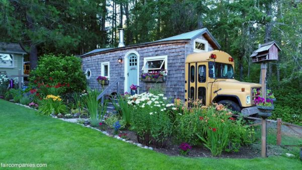Familys School Bus Short-Bus and Whimsical Shipping Container Tiny Homes