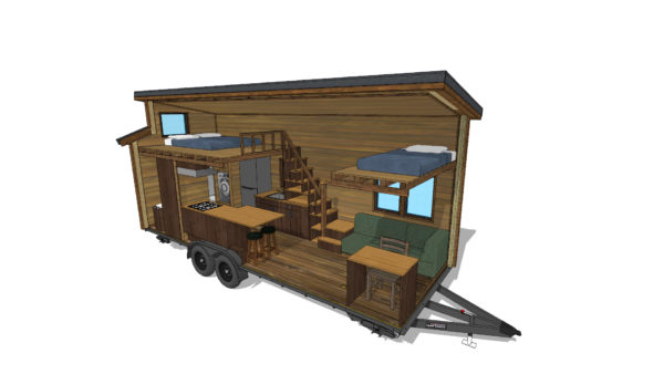 The Cider Box Tiny House - Interior Rendering