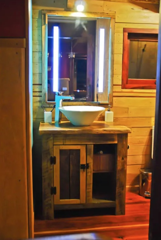 Little Off-Grid Fairytale Cottage in Patagonia Bathroom Vanity