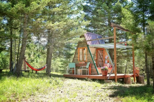 Micro A-frame Cabin Off-Grid Glamping Vacation in Montana 001