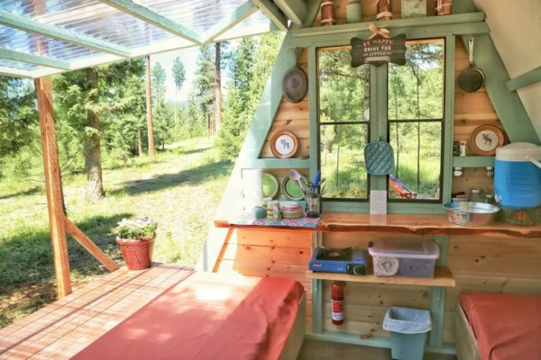 Micro A-frame Cabin Off-Grid Glamping Vacation in Montana 003
